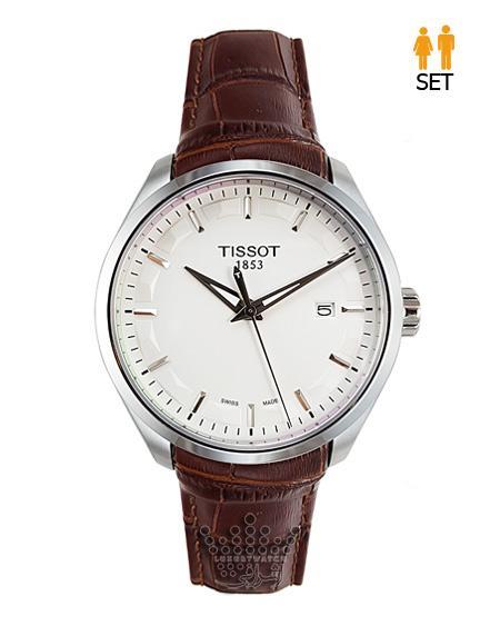ساعت مچی ست زنانه و مردانه تیسوت صفحه سفید قاب استیل Tissot T035627B