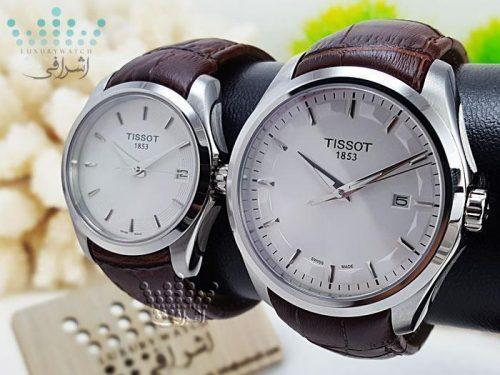 ساعت ست زنانه و مردانه تیسوت صفحه سفید قاب استیل Tissot T035627B